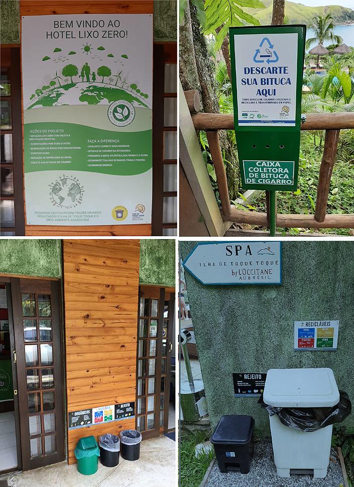 O projeto previu todo um material de informação para engajar os hóspedes no descarte correto dos resíduos, com identificação dos residuários espalhados pelas dependências (Fotos: FlowDesenvolvimento Sustentável)