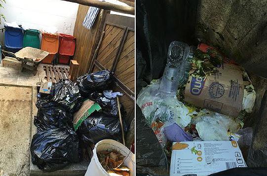Área de armazenamento temporário dos resíduos localizada nos fundos da cozinha antes do projeto Lixo Zero