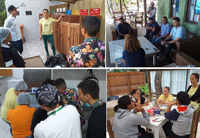 Sessões de treinamento dos funcionários do hotel: orientações sobre segregação e manejo dos resíduos